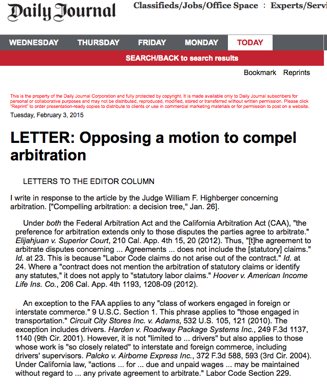 Letter- Opposing a motion to compel arbitration